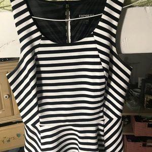Express Dresses - Express Striped B&W Dress